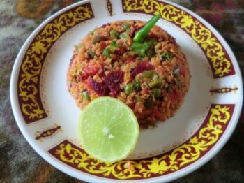 Oats Upma With Beetroot N Vegetable - Plattershare - Recipes, Food Stories And Food Enthusiasts