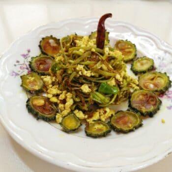 Karela With Lauki Ke Chilke - Plattershare - Recipes, Food Stories And Food Enthusiasts