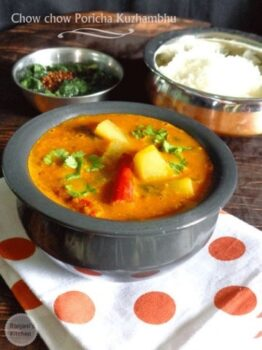 Chow Chow Poricha Kuzhambhu(Chayote Squash) - Plattershare - Recipes, Food Stories And Food Enthusiasts