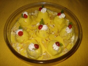 Paneer- Fruity Balls -Custard Pudding - Plattershare - Recipes, Food Stories And Food Enthusiasts