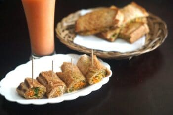 Carrot And Vermicelli Stuffed Brown Bread Roll - Plattershare - Recipes, Food Stories And Food Enthusiasts
