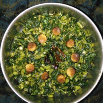 Nari Shaak With Moong Bari - Plattershare - Recipes, Food Stories And Food Enthusiasts
