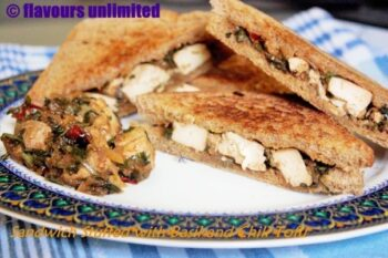 Tofu Stir Fried With Basil And Chili - Stuffed To Make A Vegan Sandwich - Plattershare - Recipes, Food Stories And Food Enthusiasts