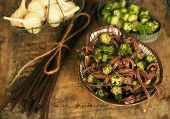 Blackrice , Ladies Finger &Amp; Basil Spaghetti - Plattershare - Recipes, Food Stories And Food Enthusiasts