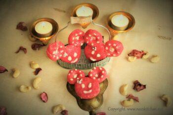 Minnie Mouse Rose Kaju Katli - Plattershare - Recipes, Food Stories And Food Enthusiasts
