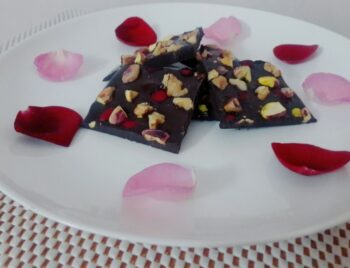 Dark Chocolate Bark With Pistachios Rose Petals And Walnuts Valentines Day - Plattershare - Recipes, Food Stories And Food Enthusiasts