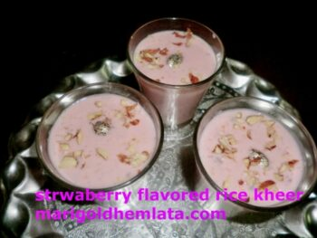 Strawberry Flavored Rice Kheer Recipe - Plattershare - Recipes, Food Stories And Food Enthusiasts