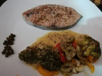 Grilled Seer Fish Steak With Veggies In Wholegrain Mustard Sauce - Plattershare - Recipes, Food Stories And Food Enthusiasts