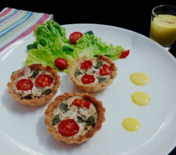 Tomato Basil Tarts With Creamy Saffron Sauce - Plattershare - Recipes, Food Stories And Food Enthusiasts
