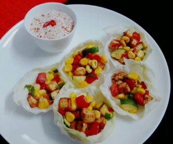 Cabbage Cups With Chili Yogurt Dip - Plattershare - Recipes, Food Stories And Food Enthusiasts
