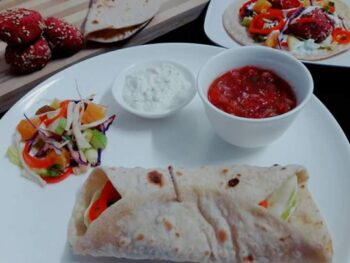 Baked Beetroot Falafel Wrap - Plattershare - Recipes, Food Stories And Food Enthusiasts