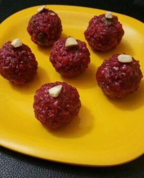 Beetroot Boondhi Ladoo - Plattershare - Recipes, Food Stories And Food Enthusiasts