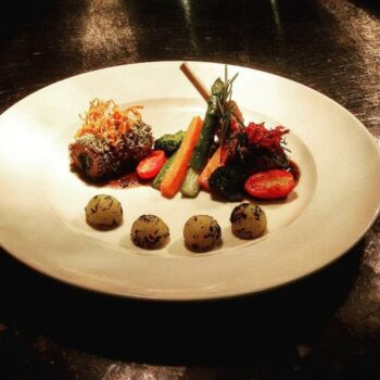 Duo Of Lamb - Herb Crusted Lamb Loin, Lamb Rack, Buttered Vegetables, Parsienne Parsley Potatoes, Nero D Avola Sauce - Plattershare - Recipes, Food Stories And Food Enthusiasts