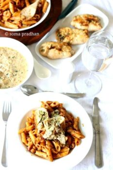 Roasted Chicken Stuffed With Cheese, Mushroom, Broccoli &Amp; Spinach Served In White Creamy Sauce And Vegetable Pasta - Plattershare - Recipes, Food Stories And Food Enthusiasts