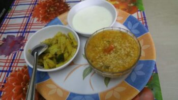 Vegetable Daliya With Curds An Coriander Aloo - Plattershare - Recipes, Food Stories And Food Enthusiasts