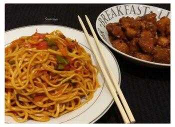 Schezwan Noodles With Chilly Chicken - Plattershare - Recipes, Food Stories And Food Enthusiasts