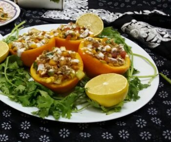Corn Chaat In Orange Bowls - Plattershare - Recipes, Food Stories And Food Enthusiasts
