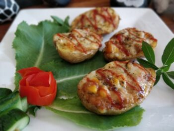 Couscous Stuffed Cheesy Potato Skins - Plattershare - Recipes, Food Stories And Food Enthusiasts