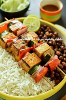 Vegan Burrito Bowl With Grilled Tofu And Vegetable Kebobs, Rice And Spicy Chickpeas - Plattershare - Recipes, Food Stories And Food Enthusiasts