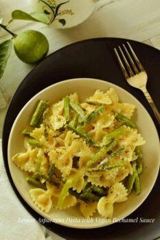 Lemon Asparagus Pasta With Vegan Bechamel Sauce - Plattershare - Recipes, Food Stories And Food Enthusiasts