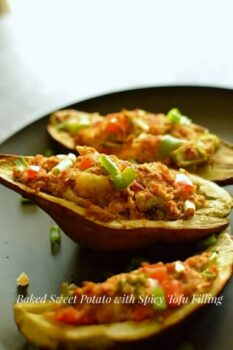 Baked Sweet Potatoes With Spicy Tofu Filling - Plattershare - Recipes, Food Stories And Food Enthusiasts
