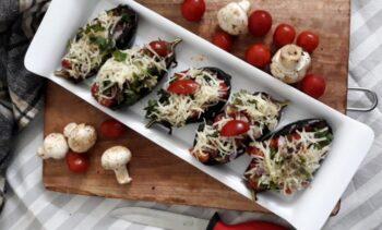 Vegetable Cheese Topped Mushroom Tofu Baked Aubergine - Plattershare - Recipes, Food Stories And Food Enthusiasts