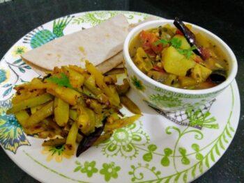 Santula, Potala Aloo Bhaja And Roti - Plattershare - Recipes, Food Stories And Food Enthusiasts