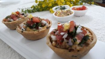Baked Katori Chaat With Russian Salad Filling - Plattershare - Recipes, Food Stories And Food Enthusiasts