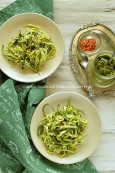 Zucchini Noodles With Cashew-Corinader Pesto - Plattershare - Recipes, Food Stories And Food Enthusiasts