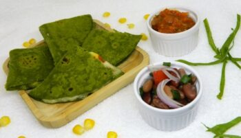 Spinach Quesadillas With Cheesy Corn Filling - Plattershare - Recipes, Food Stories And Food Enthusiasts