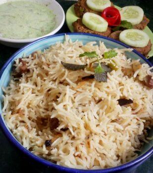 Mutton Yaknee Pulao With Shami Kabab - Plattershare - Recipes, Food Stories And Food Enthusiasts