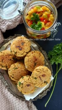 Zero Oil Chickpeas Croquettes With Mango Pepper Salsa - Plattershare - Recipes, Food Stories And Food Enthusiasts