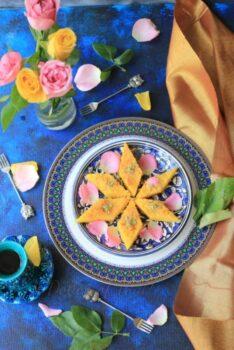 Mango Basbousa (Middle Eastern Semolina / Farina Cake) - Plattershare - Recipes, Food Stories And Food Enthusiasts