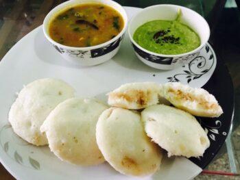 Caramelised Coconut Stuffed Idli With Sambar N Chutney - Plattershare - Recipes, Food Stories And Food Enthusiasts