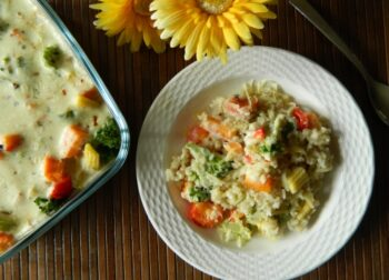 Roasted Vegetables With Brown Rice In Creamy Sauce - Plattershare - Recipes, Food Stories And Food Enthusiasts