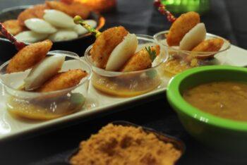 Petite Idli Picks With Sambhar Dip - Plattershare - Recipes, Food Stories And Food Enthusiasts