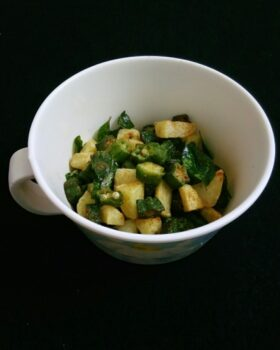 Fried Aloo Bhindi - Plattershare - Recipes, Food Stories And Food Enthusiasts