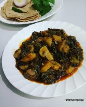 Palak Mushrooms Shimla Aloo Sabzi - Plattershare - Recipes, Food Stories And Food Enthusiasts