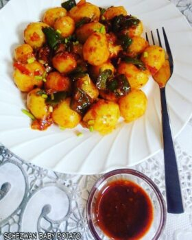 Schezwan Potatoes - Plattershare - Recipes, Food Stories And Food Enthusiasts