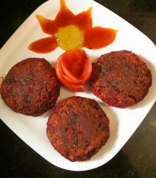 Beetroot Aloo Tikki - Plattershare - Recipes, Food Stories And Food Enthusiasts