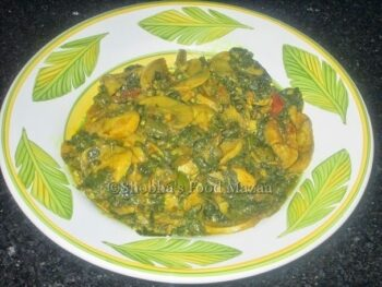 Palak Mushroom Sabzi / Spinach And Mushroom Stir-Fry - Plattershare - Recipes, Food Stories And Food Enthusiasts