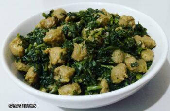 Soya Chunks Spinach Sabzi - Soya Vadi Palak Ki Sabji - Plattershare - Recipes, Food Stories And Food Enthusiasts