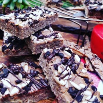 Banana Coconut Chocochip Almond Sheet Cake Breakfast Bars - Plattershare - Recipes, Food Stories And Food Enthusiasts