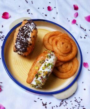 Paneer Jalebi Ice-Cream Sandwich - Plattershare - Recipes, Food Stories And Food Enthusiasts