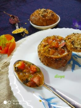 Tomato Kootu In Pretzel Buns - Plattershare - Recipes, Food Stories And Food Enthusiasts