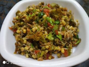 Sprouted Moong With Green Veggies - Plattershare - Recipes, Food Stories And Food Enthusiasts