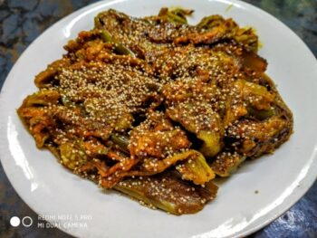 Brinjal With Pumpkin Flowers - Plattershare - Recipes, Food Stories And Food Enthusiasts