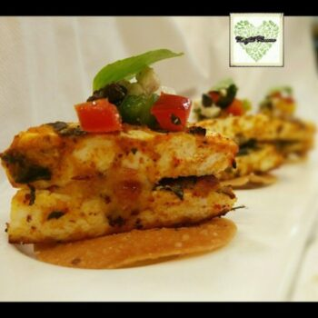 Surprise Achari Tikka With Mozzarella And Olives - Plattershare - Recipes, Food Stories And Food Enthusiasts