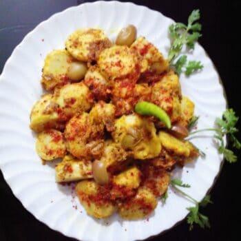 Masala Arvi With Karaunda - Plattershare - Recipes, Food Stories And Food Enthusiasts