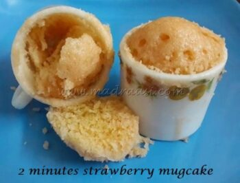 2 Minutes Strawberry Mug Cake / Instant Cake - Plattershare - Recipes, Food Stories And Food Enthusiasts